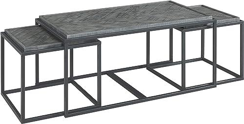 Martin Svensson Home Huntington, Grey Solid Wood Nesting Coffee Table