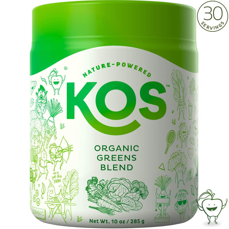 KOS Organic Greens Blend - 30 Servings - Amazing Tasting Super Greens Powder Organic Wheatgrass Oat Grass Spirulina Chlorella Prebiotics - Super Food Veggie Powder - 285g (Fresh Cut Apple Flavor) by KOS