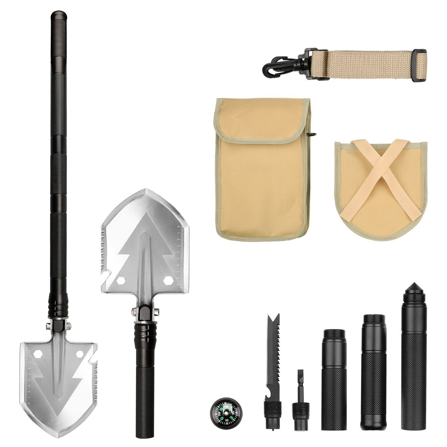 Survival Tools Kit,Military Portable Folding Shovel (Long 29 inch) with 13 Tools and Multi Functional for camping, Hiking, Backpacking, Fishing, Trench Entrenching Tool Goannra