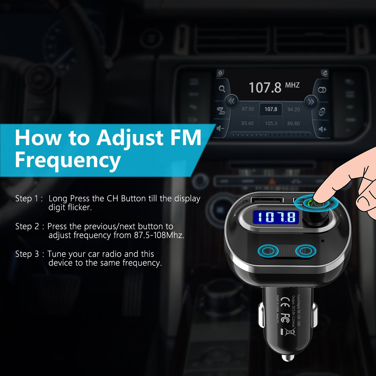 VicTsing (Upgraded Version) V4.1 Bluetooth FM Transmitter for Car, Wireless Radio Transmitter Adapter with Music Player Support Aux Output Input, TF Card and U-Disk, Hands Free and Dual USB Ports by VicTsing (Image #6)