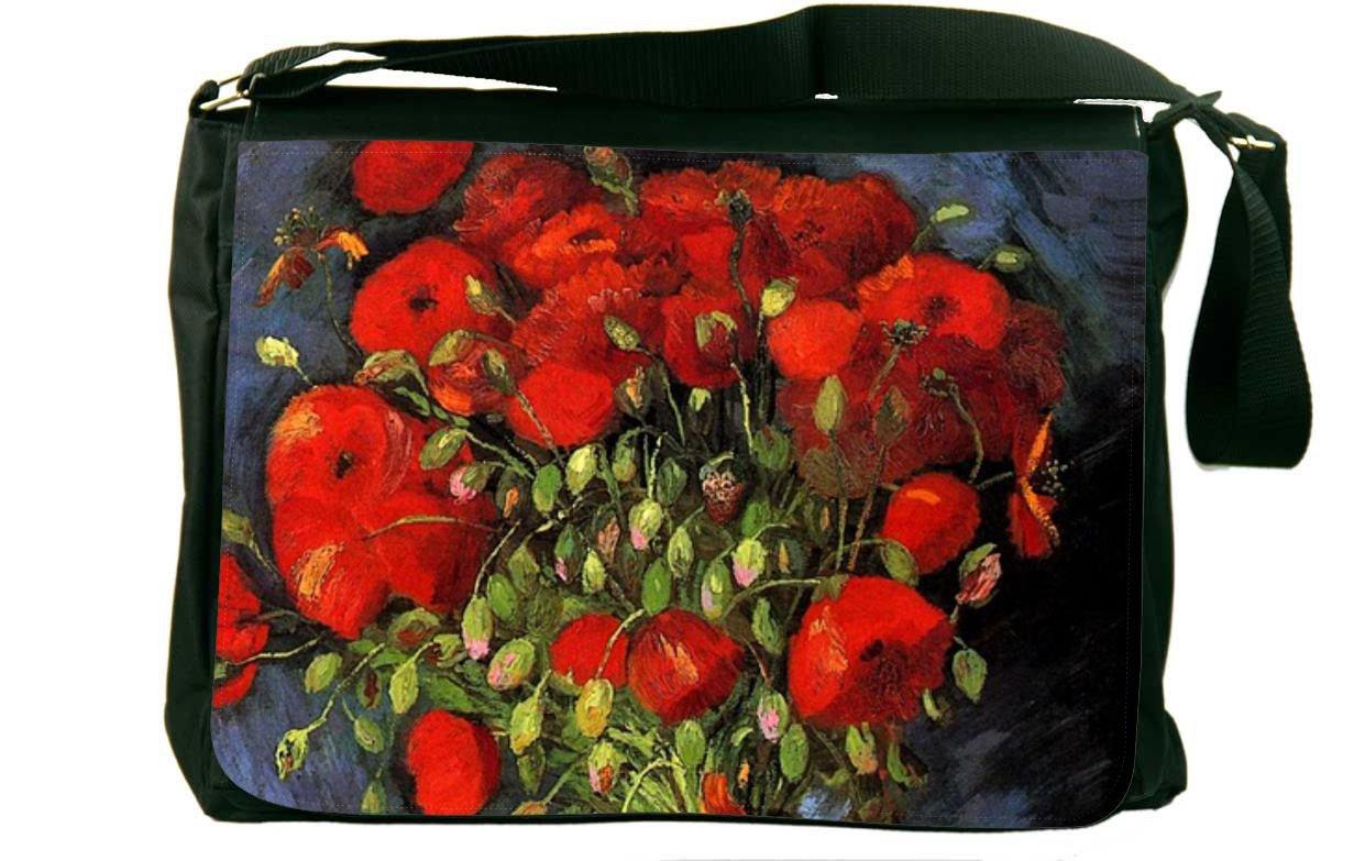 Rikki Knight Van Gogh Art Red Poppies Messenger Bag School Bag