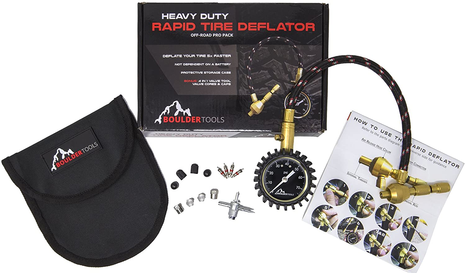 Boulder Tools All New Heavy Duty Rapid Tire Deflator Kit with Valve Caps Valve Cores /& 4-in-1 Tire Valve Tool