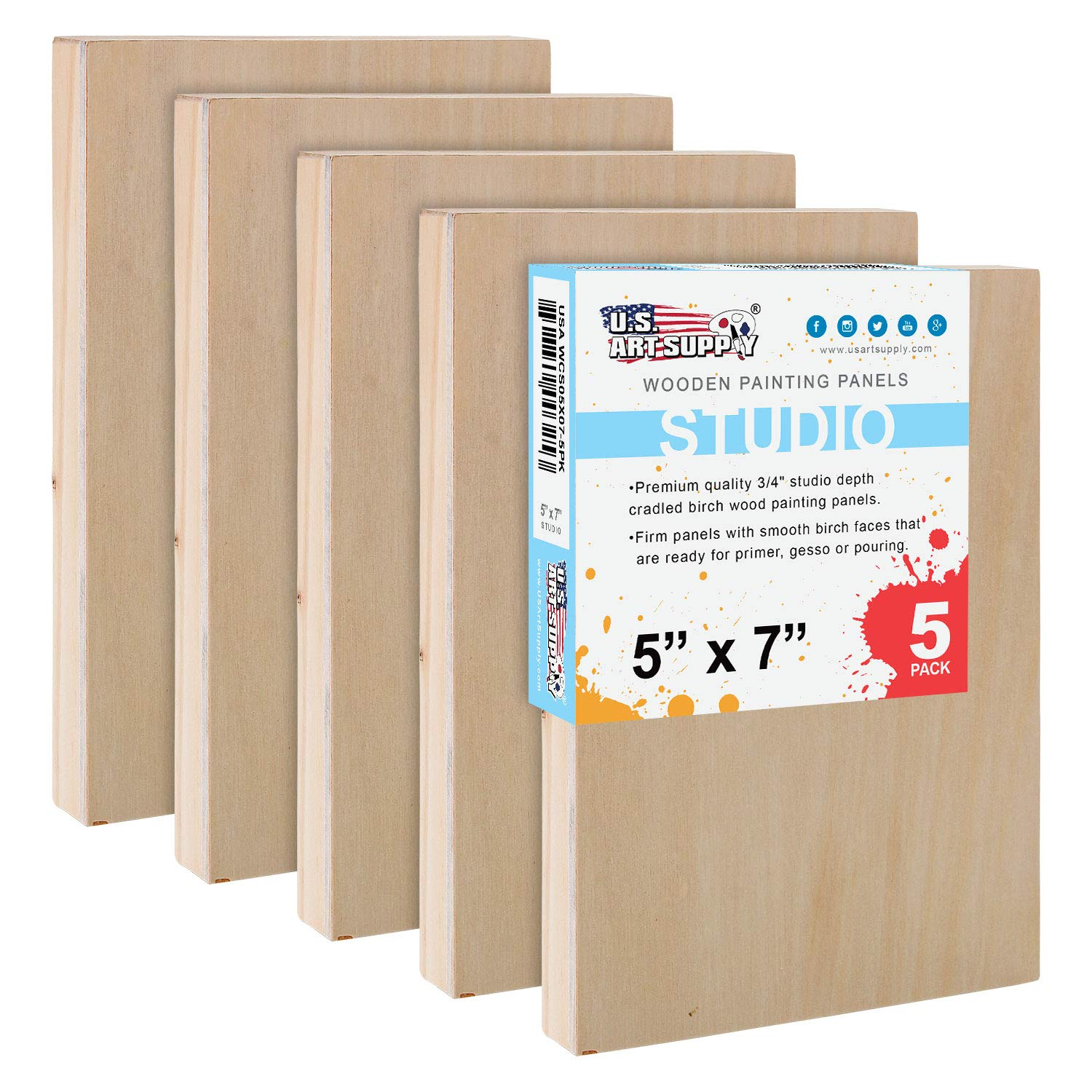 U.S. Art Supply 5'' x 7'' Birch Wood Paint Pouring Panel Boards, Studio 3/4'' Deep Cradle (Pack of 5) - Artist Wooden Wall Canvases - Painting Mixed-Media Craft, Acrylic, Oil, Watercolor, Encaustic by US Art Supply