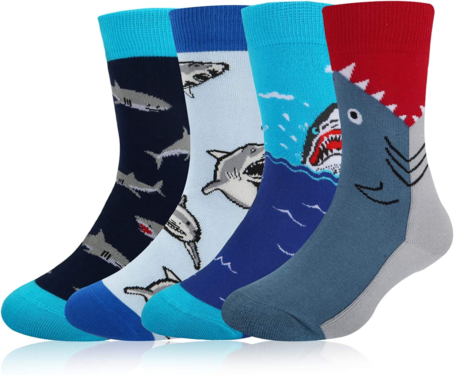 HAPPYPOP Boys Shark Space Dino Food Crew Socks,Crazy Novelty Fun Socks for Kids