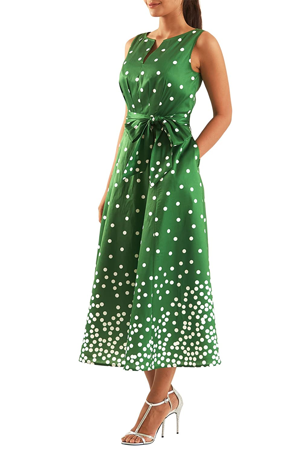 Plus Size Retro Dresses eShakti Womens Polka dot print dupioni midi dress $69.95 AT vintagedancer.com