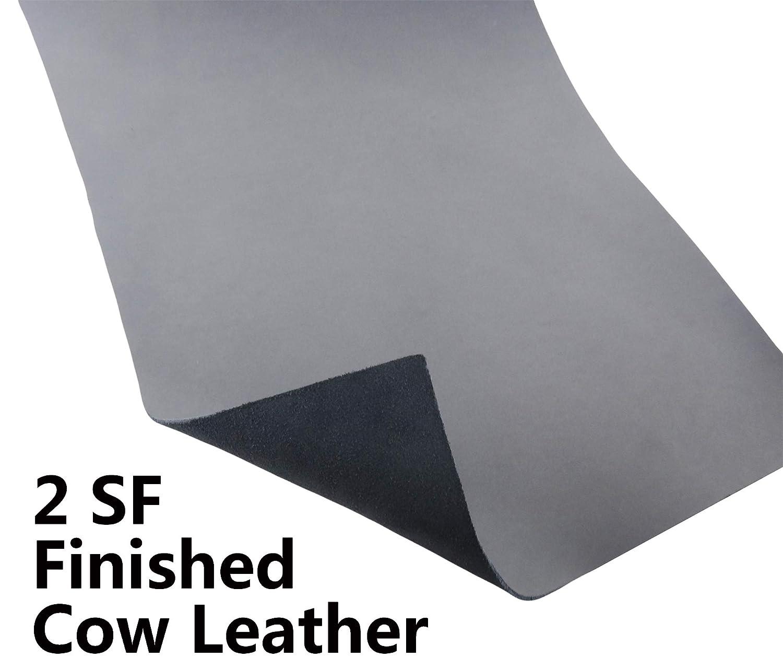 グレーカラー 本革 牛革 厚さ2mm 各種サイズ リアル仕上げ 牛革 レザーハイド 1 X 2 (Foot) JYCRAFT B07G5DQK87  1 X 2 (Foot)