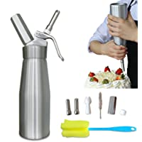 Professional Whipped Cream Dispenser Aluminium Cream Whipper - Whipping Siphon with Stainless Steel Tips Bonus Recipe Ebook Cleaning Brushes Lifetime Warranty Animato