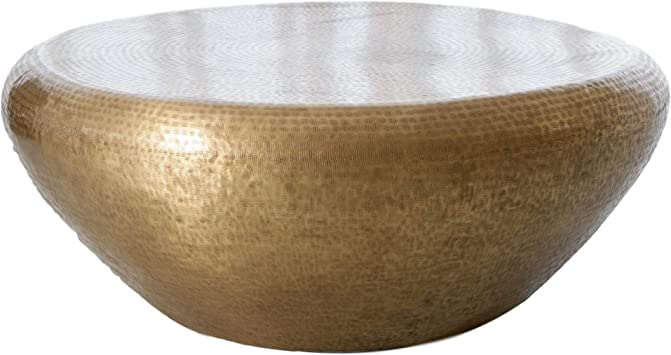 Amazon Com Global Views Hammered Brass Drum Round Coffee Table