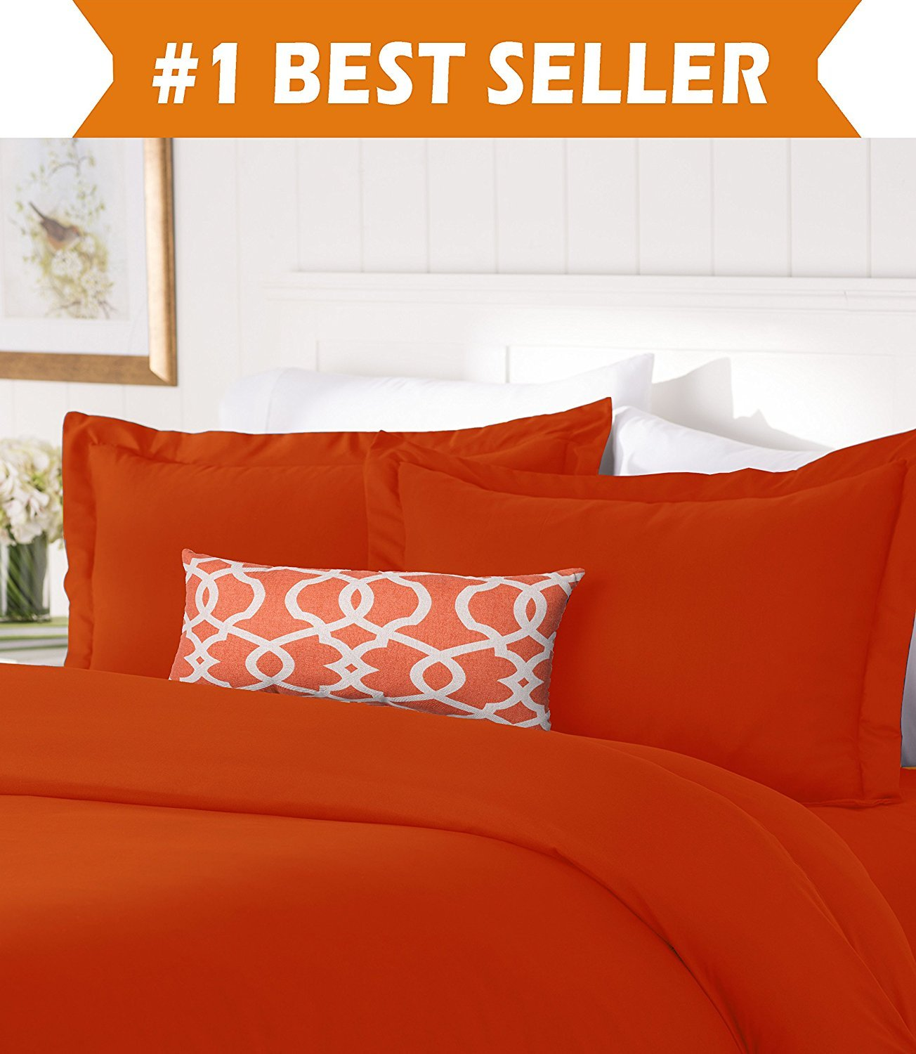 Elegant Comfort #1 Best Bedding Duvet Cover Set! 1500 Thread Count Egyptian Quality Luxurious Silky-Soft WRINKLE FREE 2-Piece Duvet Cover Set, Twin/Twin XL, Rust