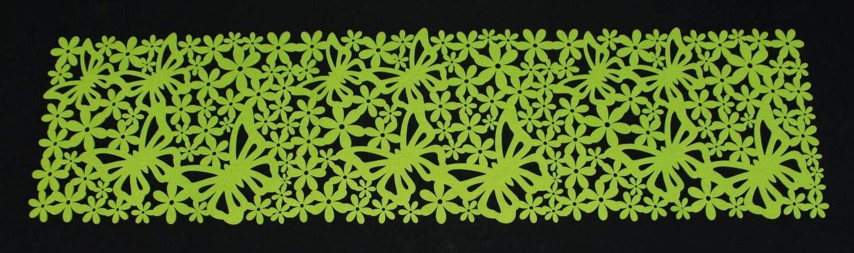 d/éco de table en feutrine verte Chemin de table Fleurs d/écoupes en forme de motifs printaniers