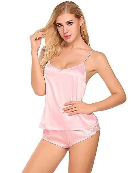 e841b23ca8 Enjoybra Mujer Conjunto De Pijama 2 Piezas De Encaje Camiseta Y Pantalones  Ropa De Dormir De Satén  Amazon.es  Ropa y accesorios