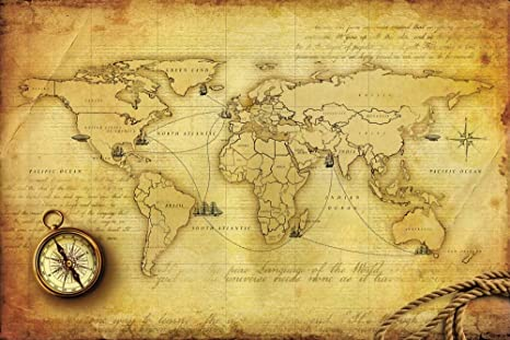 Buy World Map Wallpaper, Vintage World Map Of Voyages Of ...