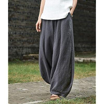 Women High Elastic Waist Lantern Baggy Pants Cotton Linen Loose Wide Leg Trouser