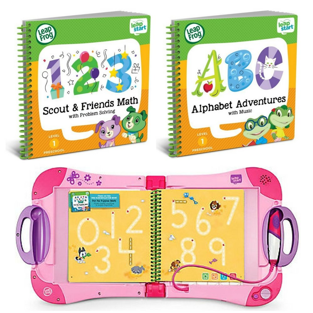 LeapFrog LeapStart Preschool to 1st Grade Learning System Pink Plus Level 1 Activity Books Bundle, Learn Math & Life Skills, Alphabet & Music, Interactive Educational Toys for Kids, Early Learning by LeapFrog (Image #1)