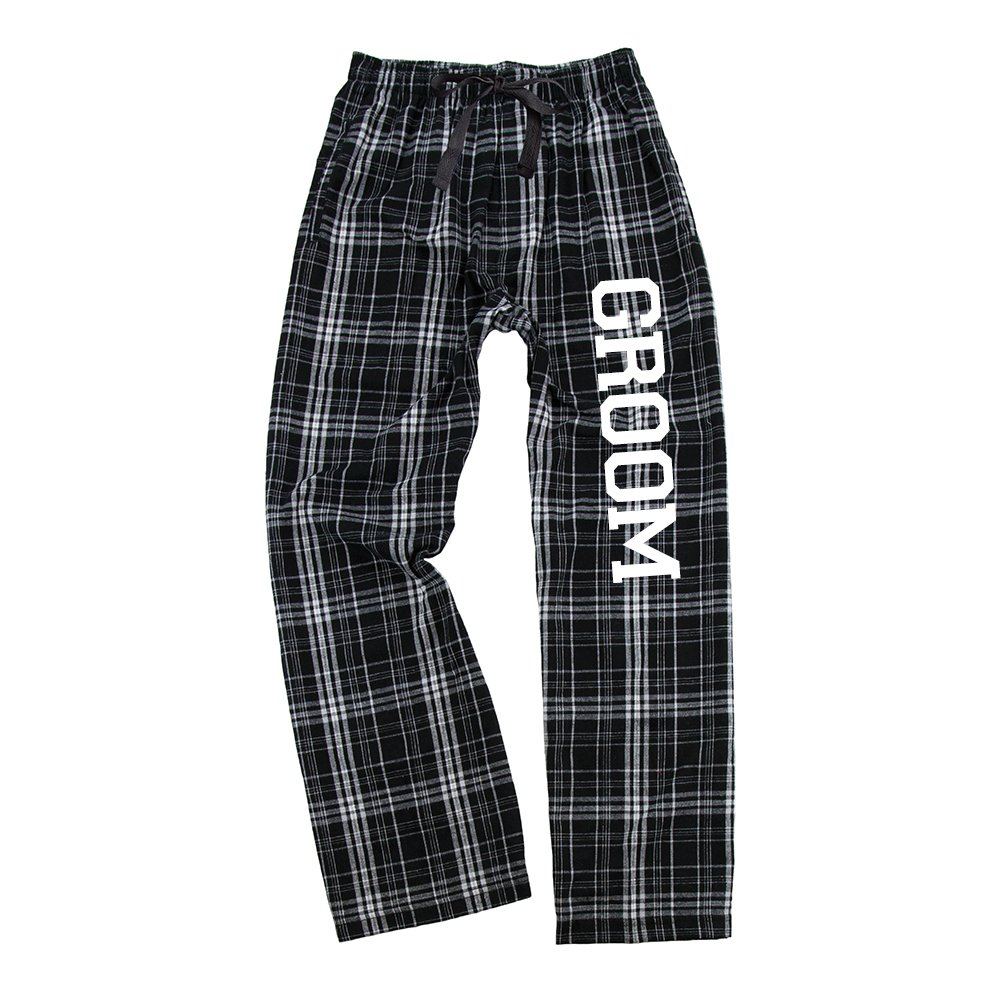 Classy Bride Mens Groom Flannel Pajama Pants - Black and White (S)