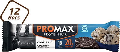 Promax Cookies n Cream, 20g High Protein, No Artificial Ingredients, Gluten Free, 12 Count