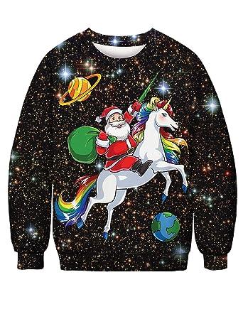 23cd2a79d5a Siennaa Pull Moche Noël Homme Imprimé Créatif Wapitis Renne Elfe Cerf Père  Noël Ciel étoilé Unisexe