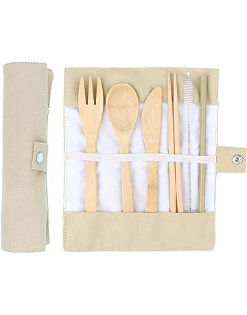 ANSUG 6 Piezas Juego de Cubiertos de bambú, Travel Lunch Cubiertos Set Utensilios de Madera