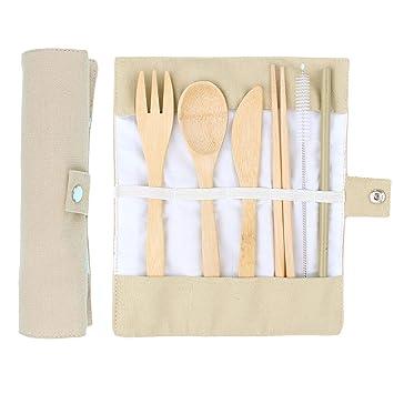 ANSUG 6 Piezas Juego de Cubiertos de bambú, Travel Lunch Cubiertos Set Utensilios de Madera Reutilizables con Bolsa de Tela para Viajes Cocina de Camping: ...