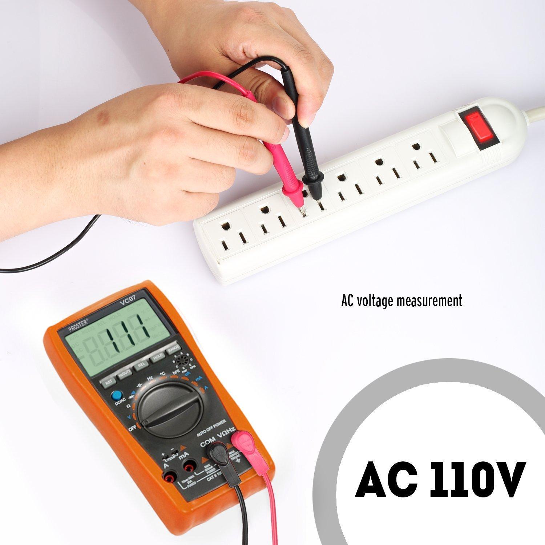 Mult/ímetro Digital 6000 Cuentas TRMS Polimetro Rango Auto//Manual Profesional Voltaje Corriente CA CC NCV Capacitancia Temperatura Diodo Continuidad con 5 pares Cables de Prueba con pinzas