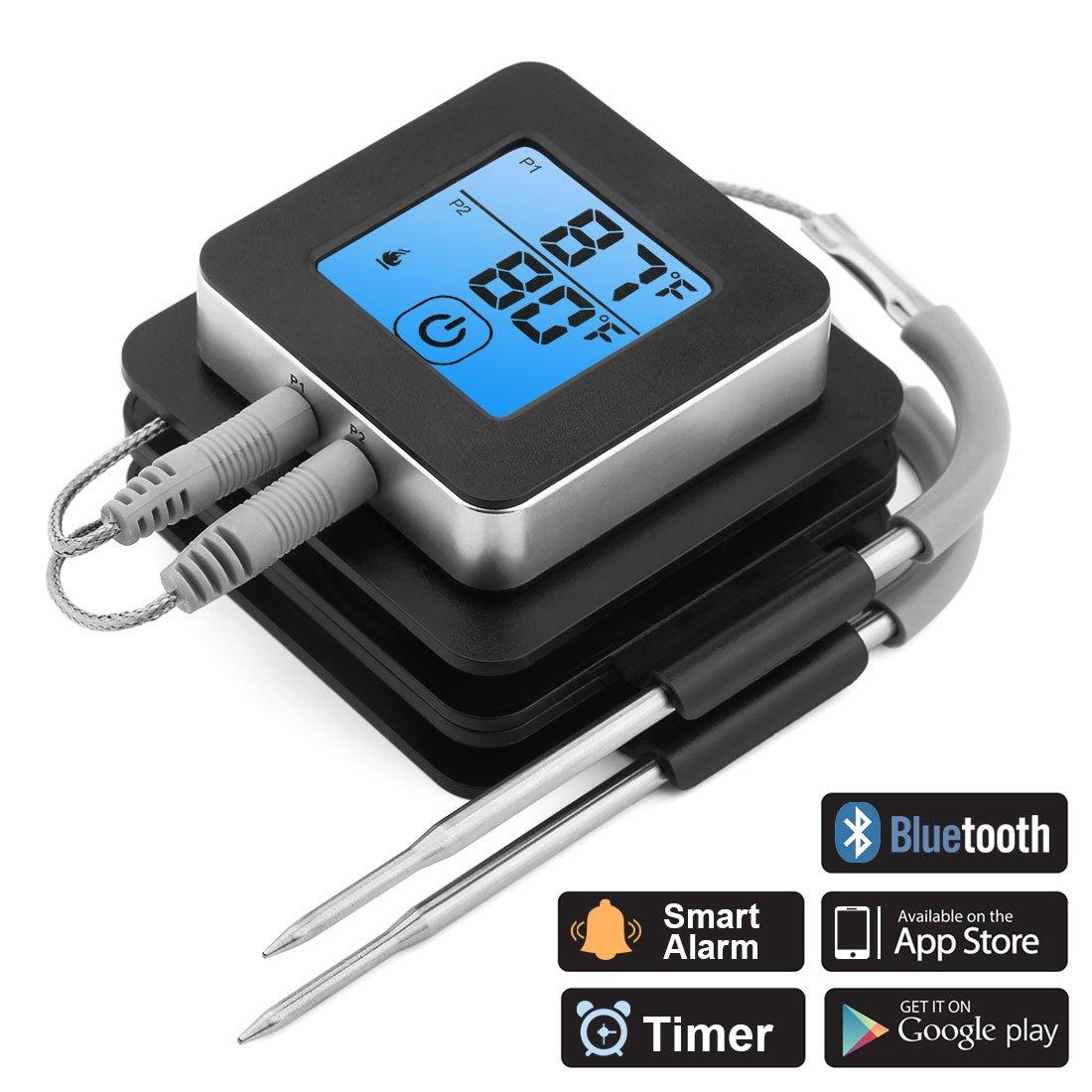 ACTOPP Grillthermometer BBQ Bratenthermometer Thermometer 2 Sonden Einstichthermometer Temperatur Voreinstellung Alarm IOS Android Magnetische Design f/ür Kochen Grill Steak Smoker Backen