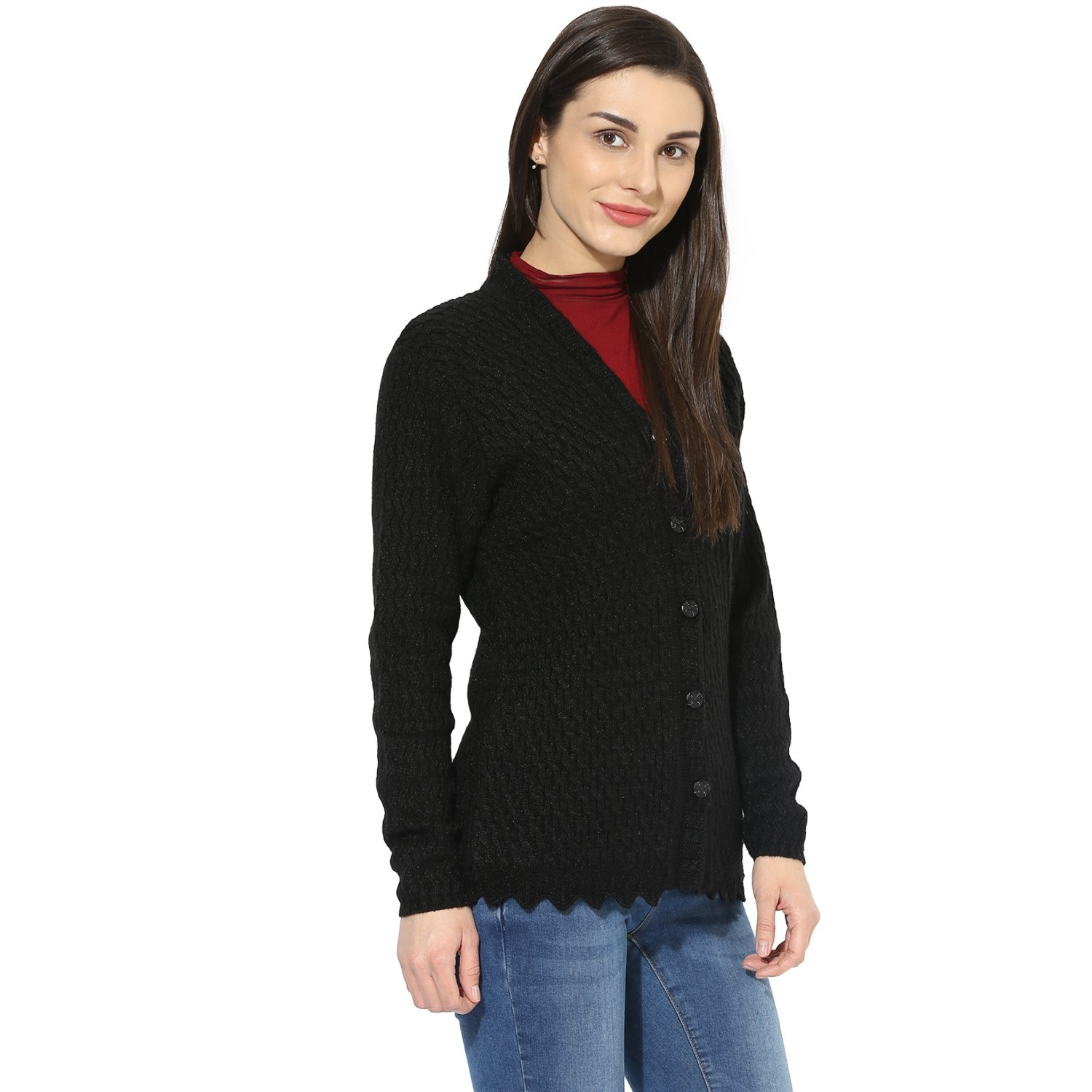 2110f47fd1a8 One Femme Women s Woollen Self-Design Solid Color Cardigan  Amazon.co.uk   Clothing