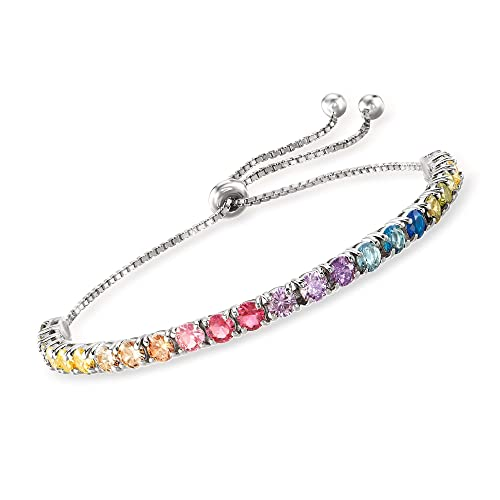 Ross-Simons 5.52 ct. t.w. Multicolored CZ Bolo Bracelet in Sterling Silver