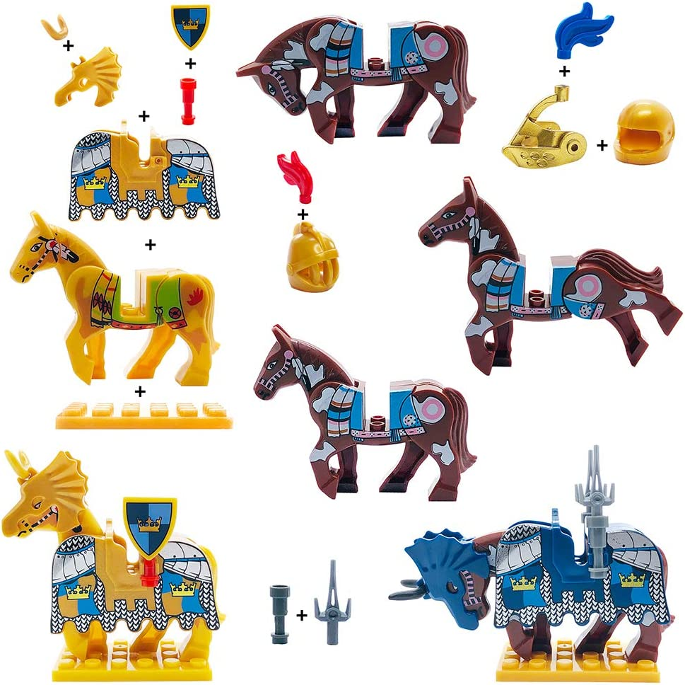 10 Sets Weapons /& 4 Sets Horses /& 10 Figures Medieval Weapons Accessories Knights Block Toy with Figures