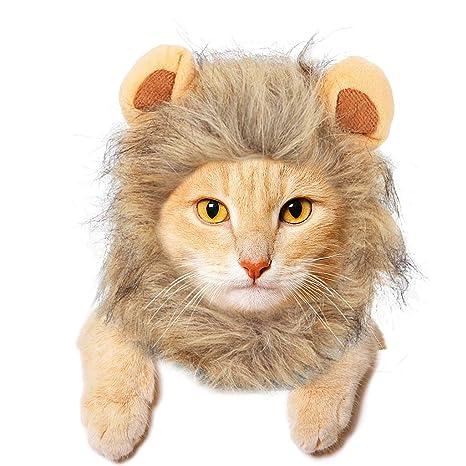 JDYW Disfraz Gato Mascota Lion Mane Peluca para Perro Gato Navidad Divertido Disfraz de Fiesta para
