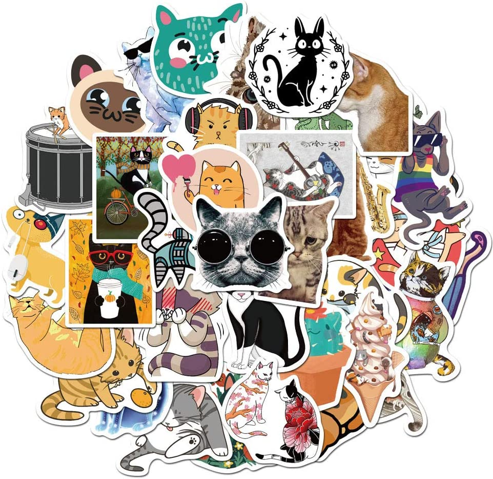 Cat Stickers for Water Bottles, | Big 50-Pack | Cute,Waterproof,Aesthetic,Trendy Stickers for Teens,Girls,Perfect for Laptop,Hydro Flask,Phone,Skateboard,Travel| Extra Durable Vinyl (Cat Stickers 50)