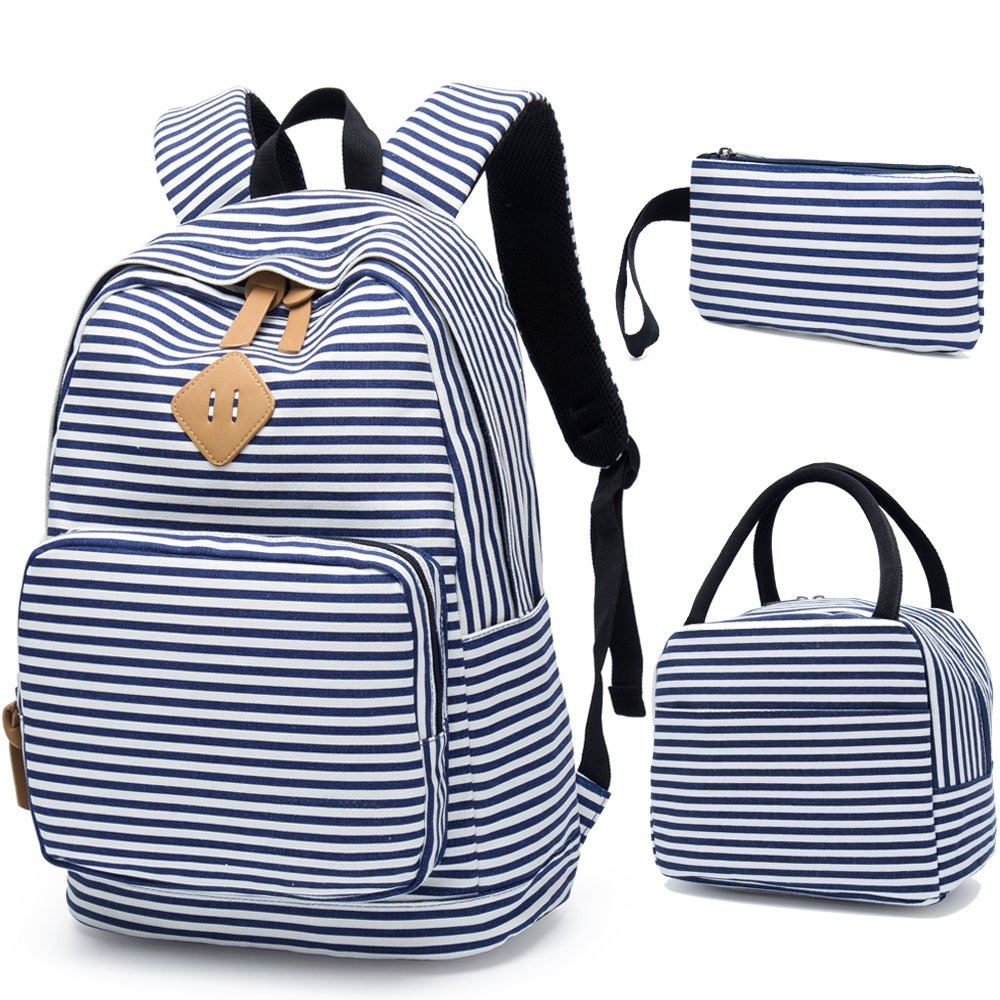 9e72de66dc5c BLUBOON School Backpack for Girls Canvas Bookbag College Laptop Rucksack  Women Ladies Travel Daypack Lunch Box Bag Pencil Case