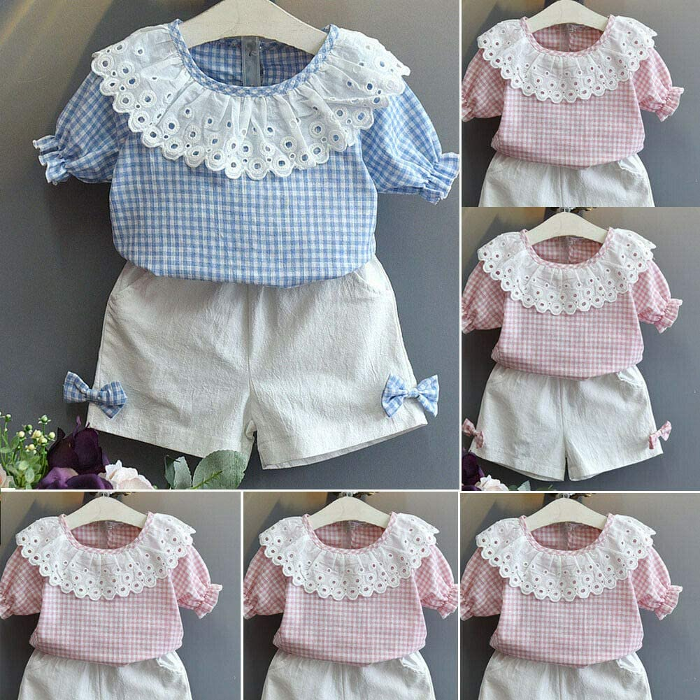 Toddler Baby Kid Girls Short Sleeve Plaid Lace T-Shirt Top with Short Clothing Set