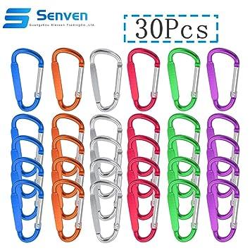Senven® 30Pcs 5cm Aluminio Mosquetón Set (D-Shape), Mini llavero Mosquetón, Gancho de Resorte y Gancho de Clip Mosquetón (Not For Climbing!)