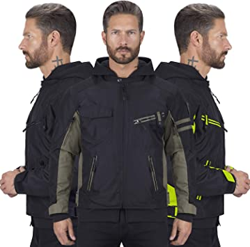 Viking Cycle Unshackled 2 Piece Textile Mesh Motorcycle Jacket /& Hoodie for Men Military Green