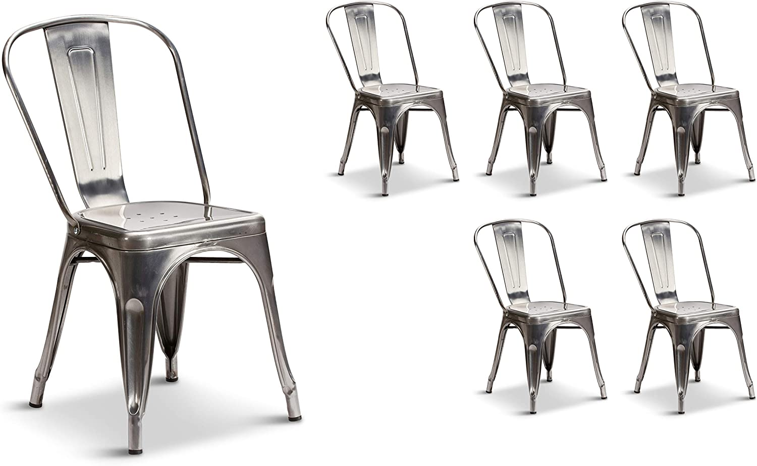 Set of 4 Steel Metal Industrial Dining Chairs Stackable Tolix