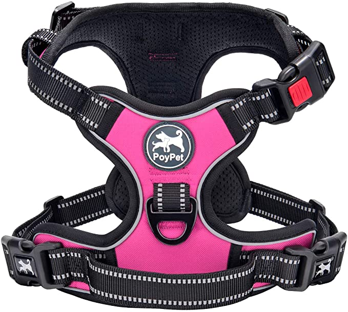 Amazon.com : PoyPet No Pull Dog Harness, No Choke Front Lead Dog Reflective Harness, Adjustable Soft Padded Pet Vest with Easy Control Handle for Small to Large Dogs(Pink, Medium) : Pet Supplies
