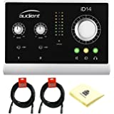 Audient iD14 High Performance 10-in/4-out USB Audio Interface with 2 Class A Mic Preamps, 8-channel ADAT Input, JFET DI & Burr-Brown Converters Bundle with 2 Microphone Cable and Zorro Polishing Cloth