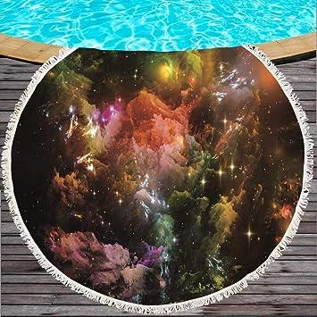Binglin Personalizado Starry Sky Toalla de Playa Redonda Grande Microfibra 150 cm Manta para Acampar Estera