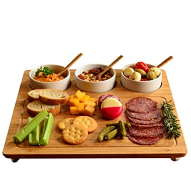 Picnic at Ascot Personalized Engraved Bamboo Cheese Board/Charcuterie Board - Includes 3 Ceramic Bowls with Bamboo Spoons - Designed and Quality Checked in the USA - A Great Wedding Gift