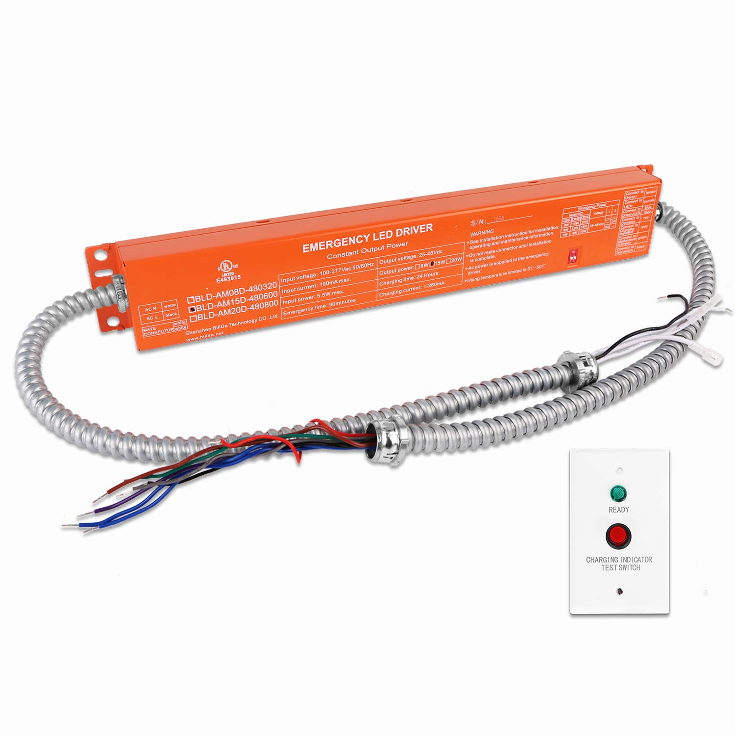 Hykolity 15W 25-48VDC LED Emergency Backup Battery, Rechargable LED Emergency Driver for 15-225W LED Light with External Driver,90 Minutes Min Emergency Time and 24 Hours Min Recharge Time.