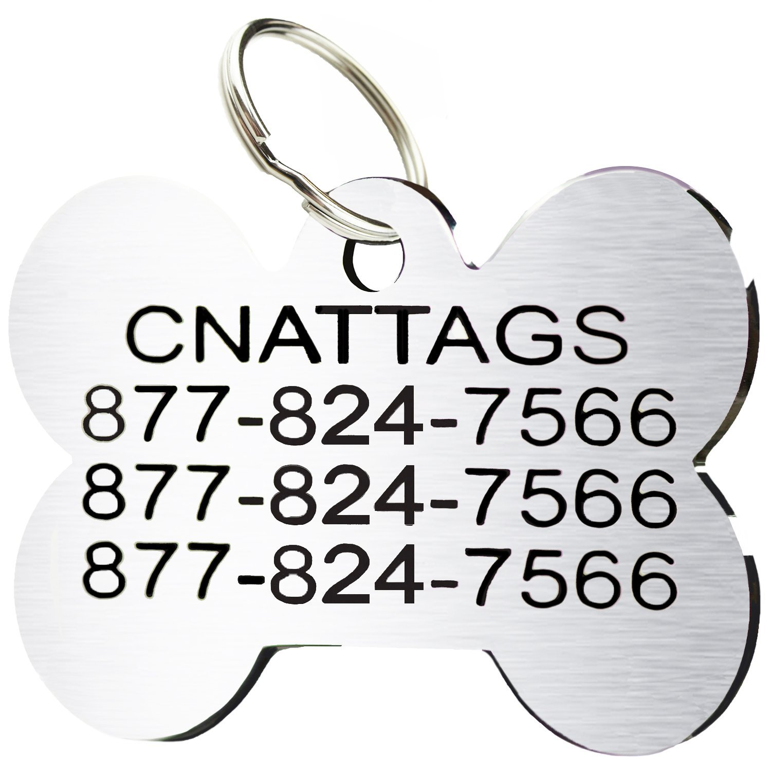 Stainless Steel Pet ID Tags Personalized Various Shapes Front and Back Engraving (Regular, Bone) product image
