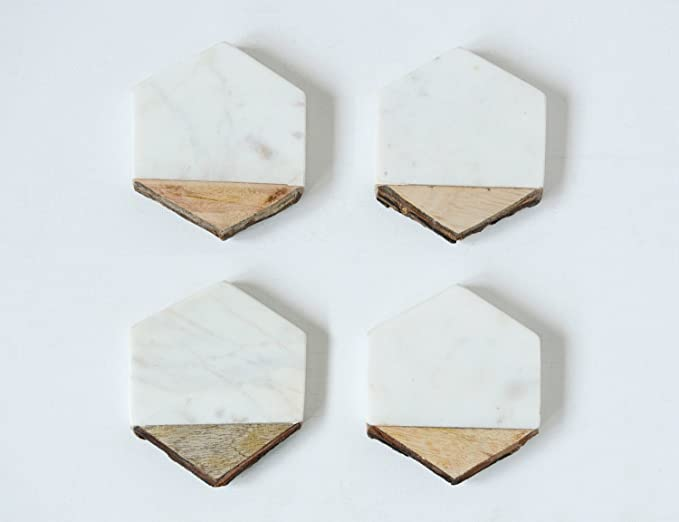 Amazon.com | Creative Co-Op DA8956 4 Piece White Marble & Mango Wood Coaster set: Coasters