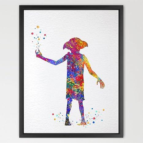 dignovel Studios Dobby Harry Potter acuarela ilustración art print Póster guardería arte decoración del arte colgar en la pared de pared para Art ...