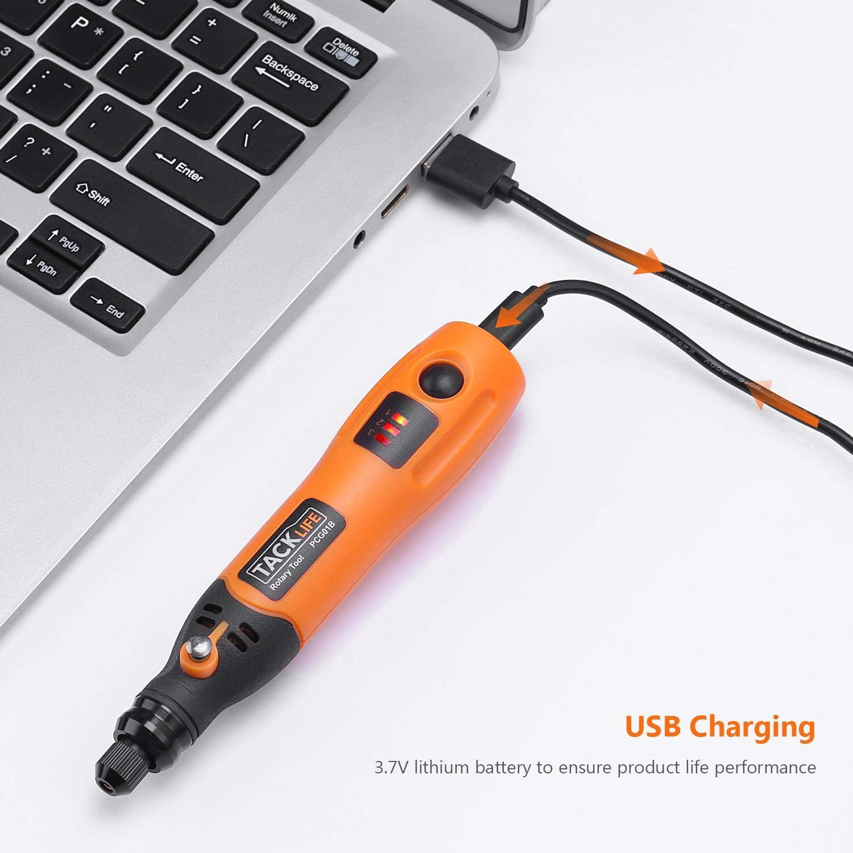 Ricarica USB MiniTrapano Elettrico Controllo a 3 Velocit/à PCG01B TACKLIFE Mini Utensile Rotante Utensile Multifunzione Con Accessori Multifunzionali Mini Trapano Senza Fili Con Batteria Al Litio