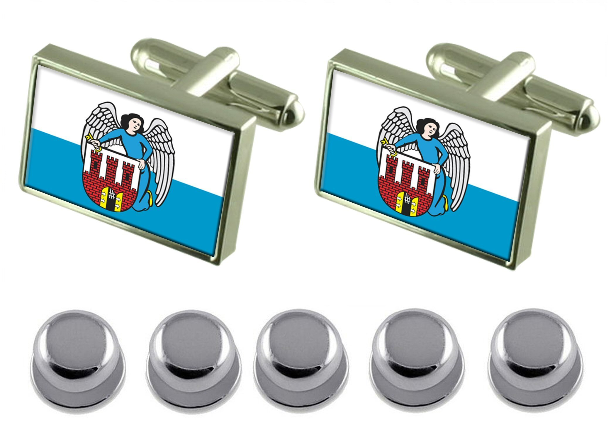 Shirt Dress Studs Torun City Poland Flag Cufflinks