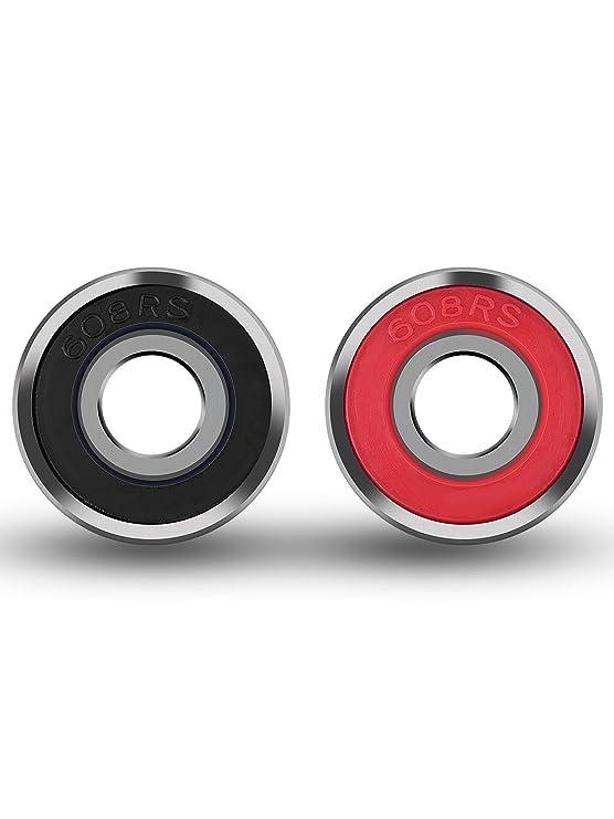 8 Piezas de Rodamientos Rodamientos de Skate Cojinetes de Patines de Rueda y Longboard 608 2RS, Doble Blindado, Rojo y Negro: Amazon.es: Deportes y aire ...