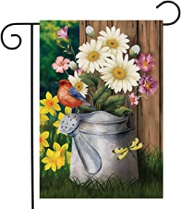 "Briarwood Lane Spring Jubilee Floral Garden Flag Watering Can Birds 12.5"" x 18"""