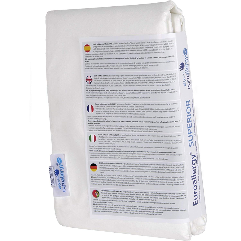 Euroallergy Superior | Funda Antiacaros Certificada | Protector con Cremallera para Colchón Individual | Color Blanco | Muchas Medidas (90x200 x 20 ...