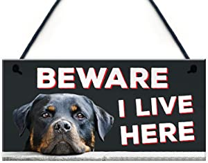 Dadaly Decor Rottweiler Security Plaque Beware of The Dog Warning Sign Weatherproof 5 x 10 inch