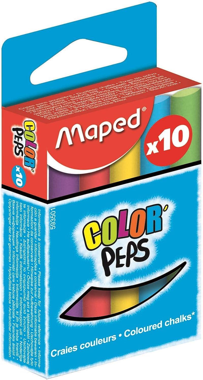 Lot de 10 Craie Color Peps - Très bonne qualité de craie- Lot de 10, rond, assortis